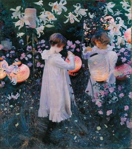 A happy painting I would gladly hang on my wall. Carnation, Lily, Lily, Rose by John Singer Sargent.